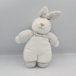 Doudou lapin blanc gris rayé TARTINE ET CHOCOLAT