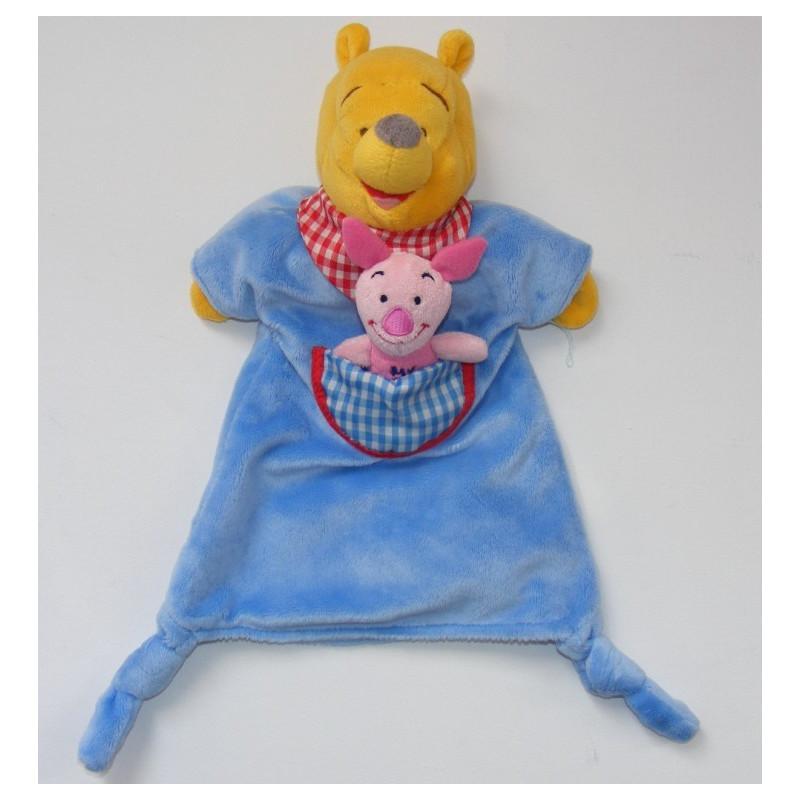 Doudou plat marionnette bleu Winnie l'ourson avec petit porcinet Disneyland