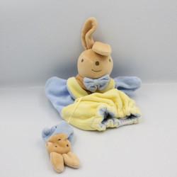 Doudou plat marionnette lapin bleu jaune bébé NOUNOURS