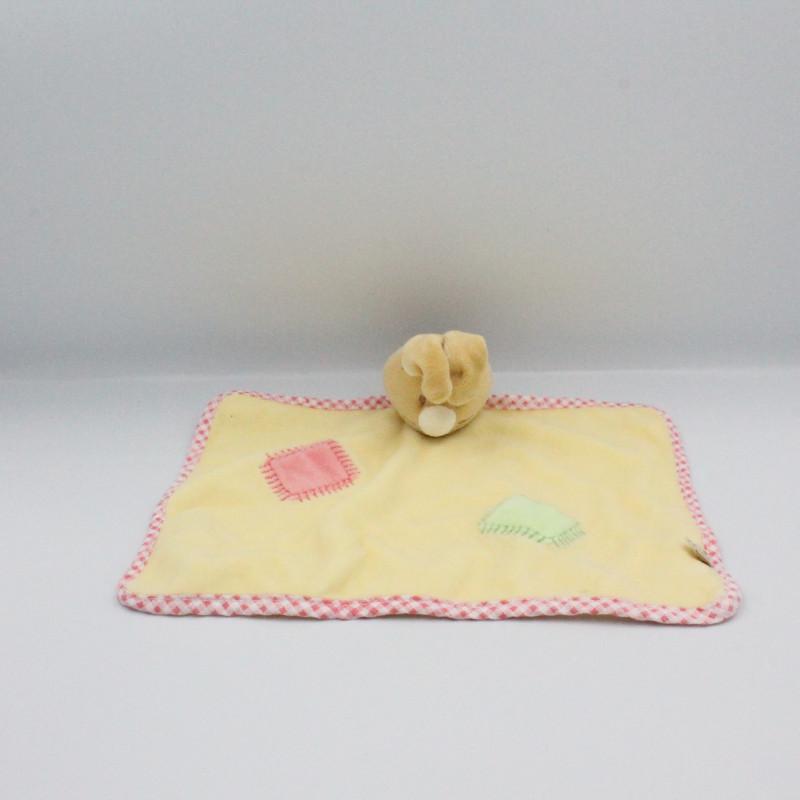 Doudou plat lapin jaune rose NOUKIE'S