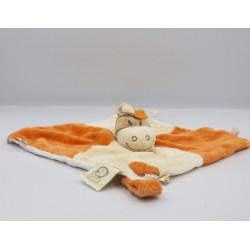 Doudou plat cheval zébre beige orange écru Tidou NOUKIE'S