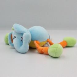 Doudou éléphant bleu jaune orange vert NATTOU