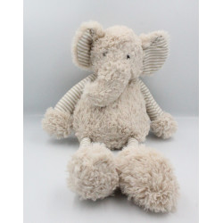 Doudou éléphant beige gris blanc rayé ATMOSPHERA