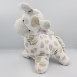 Doudou girafe blanche pois gris beige LA MAISON DE JEANNE