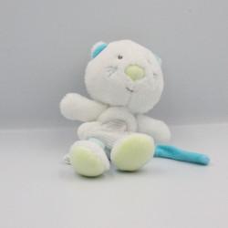 Doudou attache tétine chat blanc bleu vert SUCRE D'ORGE