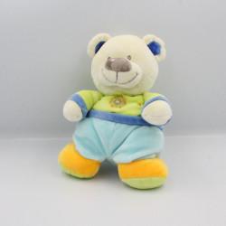 Doudou ours bleu vert jaune coeur POMMETTE
