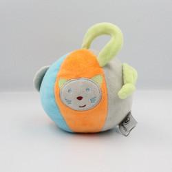 Doudou balle bleu orange vert gris chat U TOUT PETITS