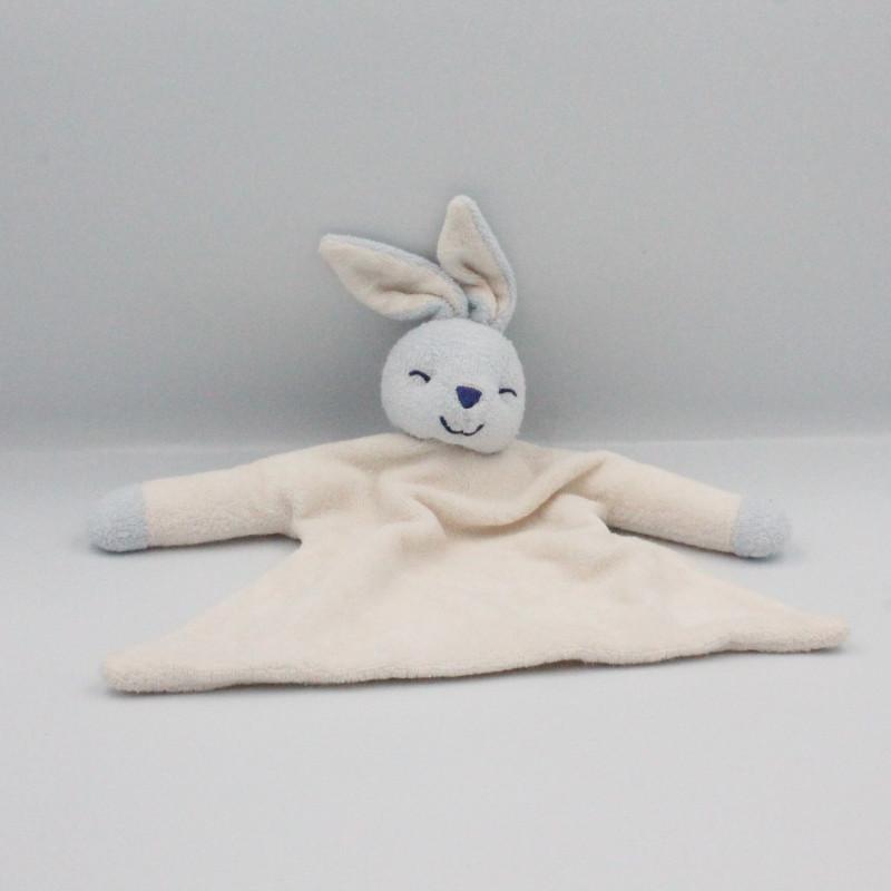 Doudou plat éponge lapin blanc bleu AUCHAN