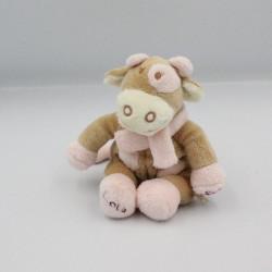Mini Doudou vache Lola Rosalie beige rose pois fleur NOUKIE'S