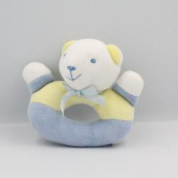 Doudou hochet ours bleu jaune NOUKIE'S