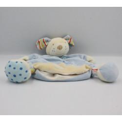 Doudou marionnette chien bleu blanc Bubbly Crew Babysun