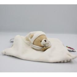 Doudou et compagnie plat ours blanc beige rayé Tatoo