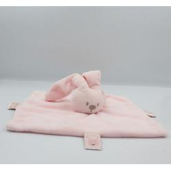 Doudou plat carré lapin rose clair Lapidou NATTOU