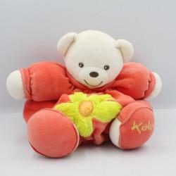 Doudou ours boule patapouf orange rouge fleur verte KALOO