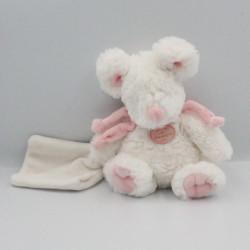 Doudou et compagnie souris blanche rose mouchoir Mon tout petit