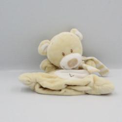 Doudou marionnette ours écru blanc écharpe rayé POMMETTE
