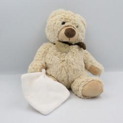 Doudou ours beige marron mouchoir blanc BABY NAT