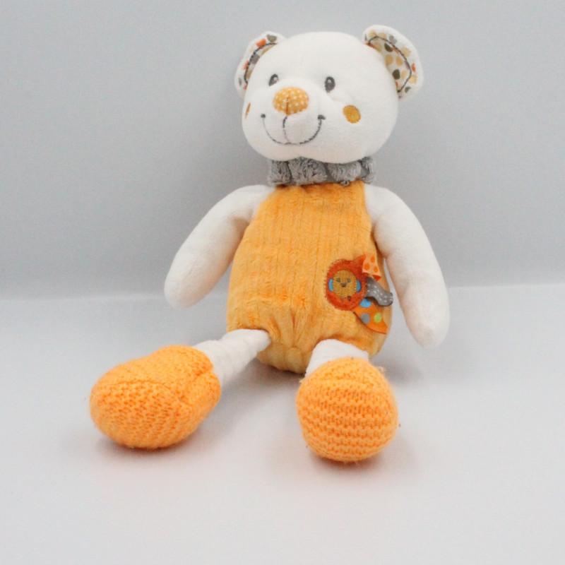 Doudou ours orange blanc oiseau NICOTOY