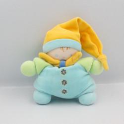Doudou semi plat lutin bleu jaune vert NOUNOURS
