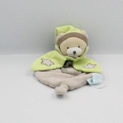 Doudou plat ours beige vert marron étoile luminescent BABY NAT