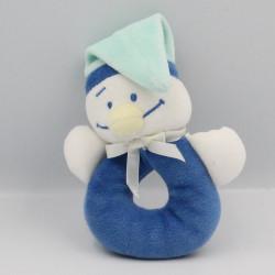 Doudou hochet pingouin bleu blanc NOUKIE'S