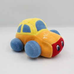 Doudou peluche voiture jaune bleu orange rouge police