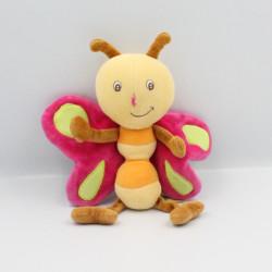 Doudou papillon rose jaune orange vert ORCHESTRA