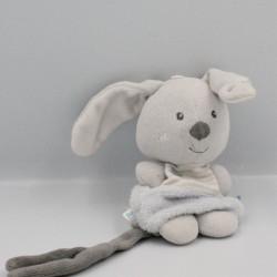 Doudou attache tétine lapin gris SUCRE D'ORGE