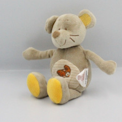 Doudou souris beige gris jaune coccinelle BENGY