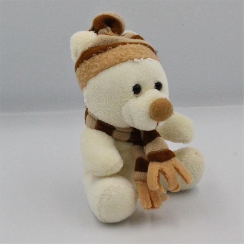 Mini Doudou peluche ours blanc beige écharpe bonnet ENESCO