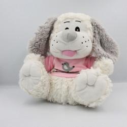 Peluche chien blanc gris rose oiseau VADIMO'S PATECE