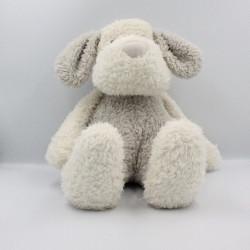 Peluche doudou chien blanc gris J-LINE