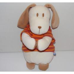 Doudou chien boule maillot rayé orange SUCRE D'ORGE