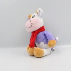 Doudou vache violet mauve écharpe rouge MILKA