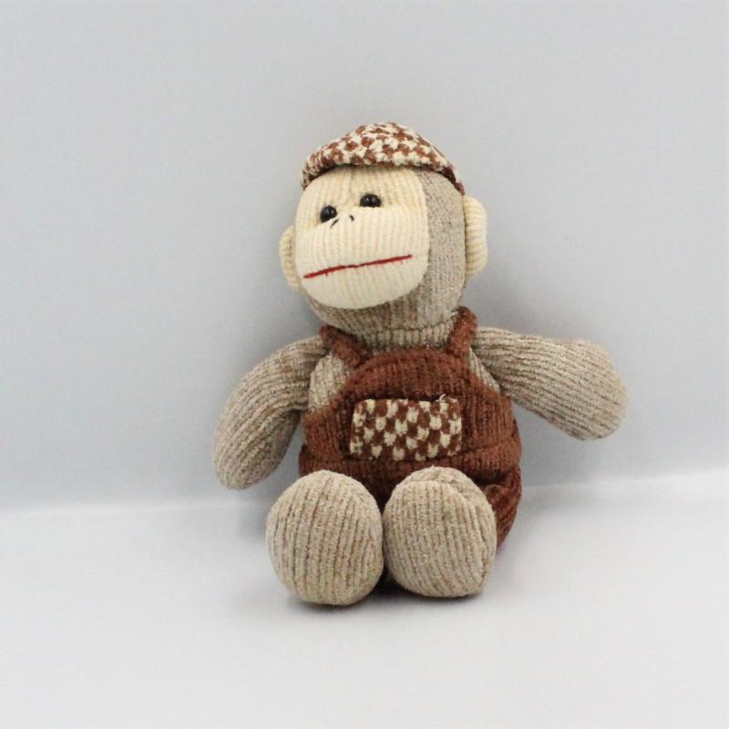 Doudou singe marron beige salopette casquette GIPSY