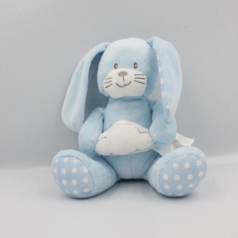 Doudou lapin bleu pois nuage KIMBALOO