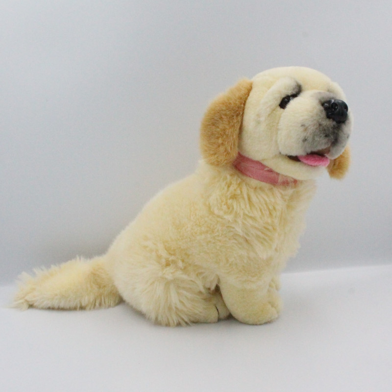 Peluche chien écru beige collier rose ELUZ