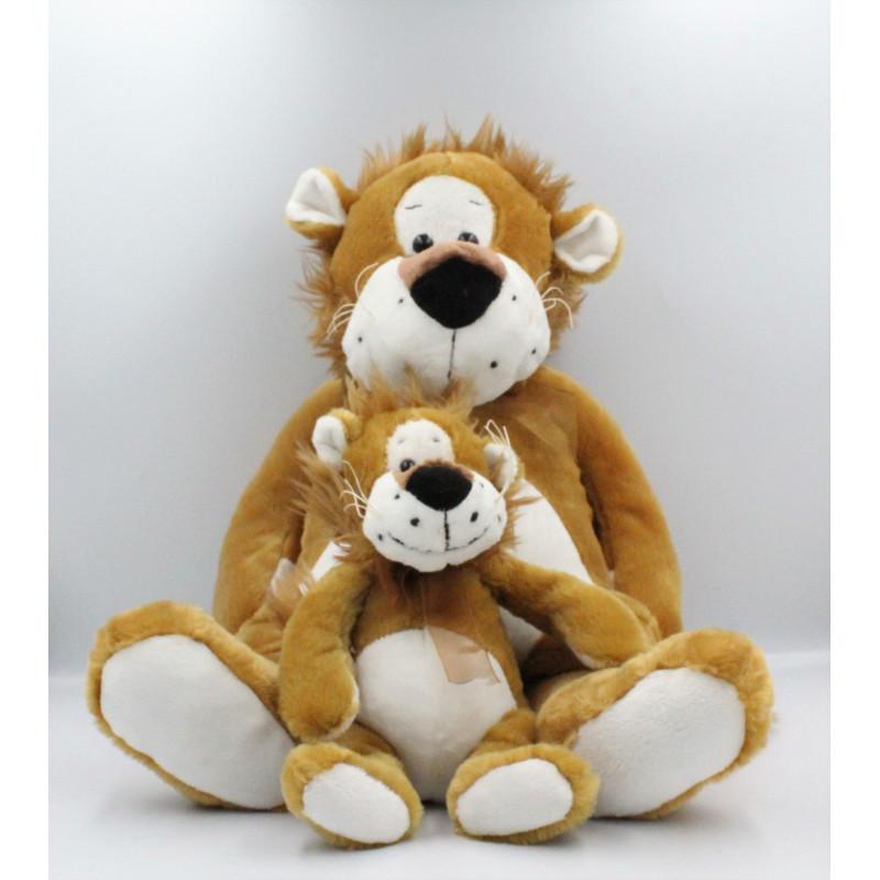 Grand Doudou peluche lion avec son bébé SYSTEME U