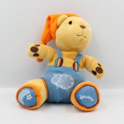 Doudou ours beige orange bleu FIZZY