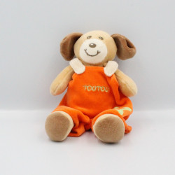 Doudou chien beige marron orange Toutou NOUNOURS
