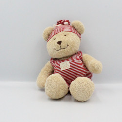 Doudou ours beige rayé rouge NICOTOY