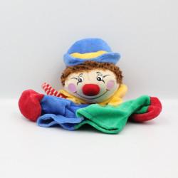 Doudou plat marionnette clown rouge bleu vert jaune NOUNOURS