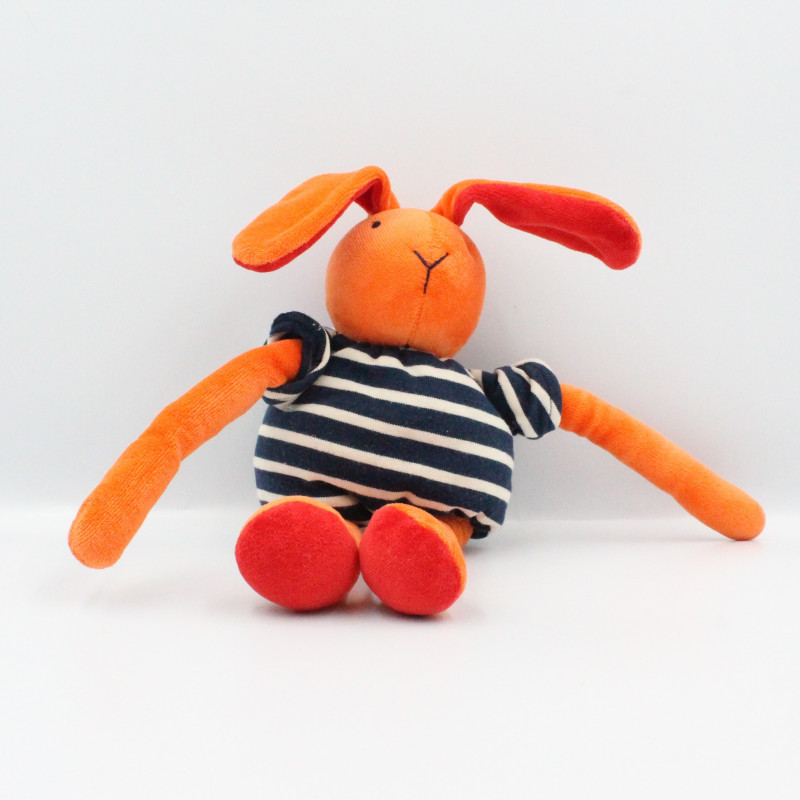 Doudou lapin orange rouge rayé bleu NOUNOURS