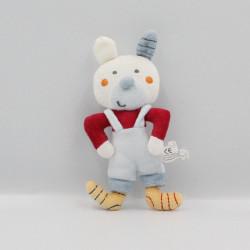 Mini doudou lapin blanc bleu rouge jaune AUCHAN