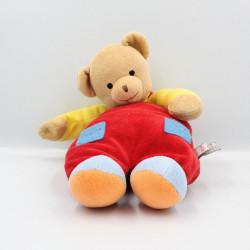 Doudou ours beige rouge jaune bleu BABY GUND