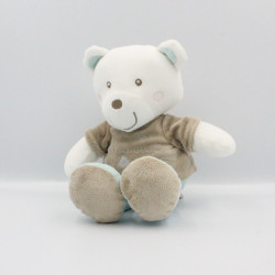 Doudou musical ours blanc beige bleu rayé PREMAMAN