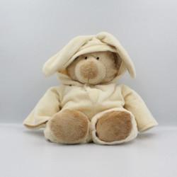 Grand Doudou ours déguisé en lapin ecru jaune NICOTOY