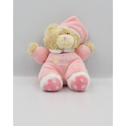 Doudou peluche ours beige rose blanc Goodnight Teddy KEEL TOYS