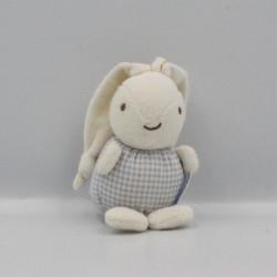 Doudou lapin blanc vichy bleu fleurs NOUNOURS