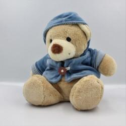 Doudou ours beige gilet bleu capuche NICOTOY